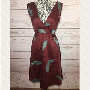 Marc Jacobs maroon print v-neck flare dress 0 XS